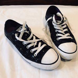 Converse black sequin fashion sneakers